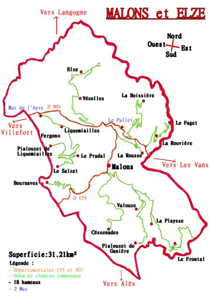 Schéma de la commun de Malons et Elze avec les différents hameaux et mas